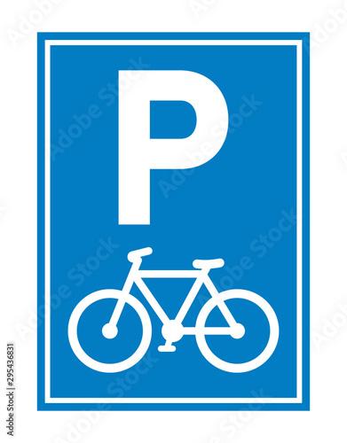 Obraz na plátně Road sign. Bicycle parking
