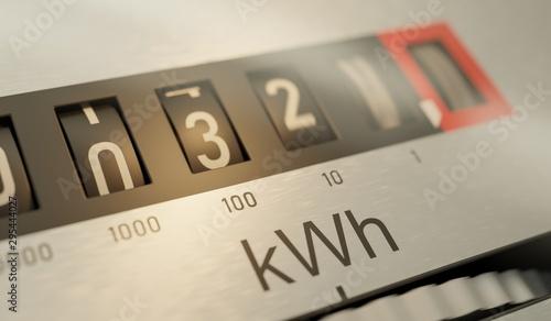 Fotografie, Tablou Analog electrometer is measuring electricity consumption. 3D ren