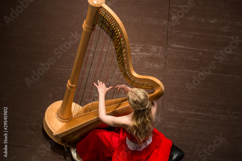 Photo Beautiful girl playing A harp in a concert hall during a concert of classical mu