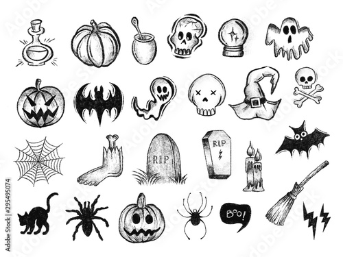 halloween dynia duchy grób ilustracje