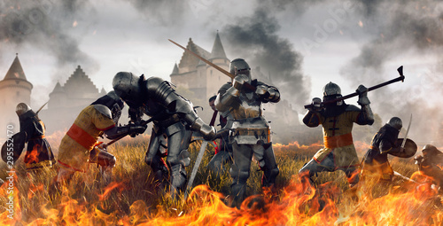 Fotomural Medieval battle of knights in fire