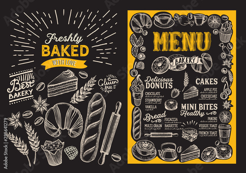 Bakery menu food template for restaurant with doodle hand-drawn graphic.