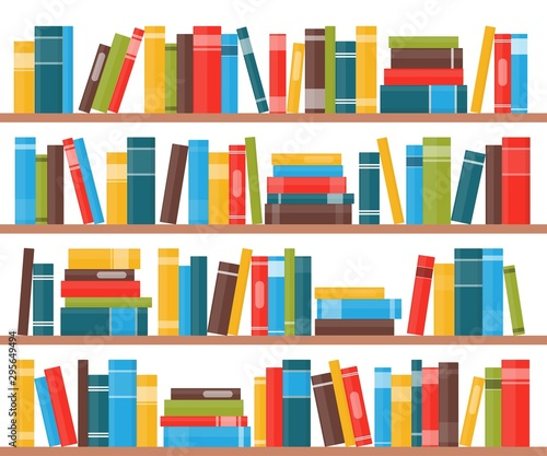 Book shelves with multicolored book spines. Books on a shelf. Vector illustration in flat style.