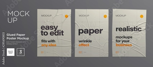 Photo Wrinkled poster template set