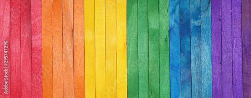Fotografie, Tablou Rainbow color pattern wooden background. LGBT colors