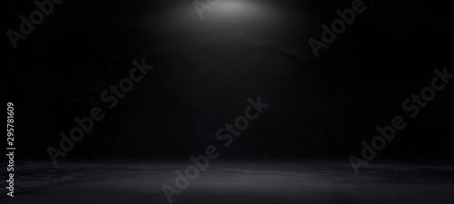Black, dark and gray abstract cement wall and studio room , interior texture for display products. wall background.