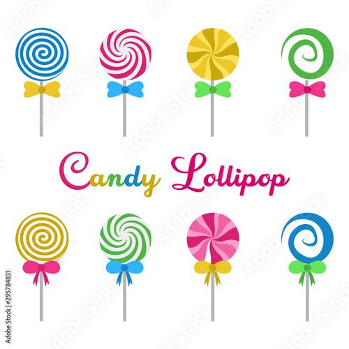 Fotografia Set Candy lollipop round spiral delicious flat design cartoon vector illustratio