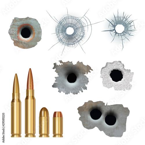 Obraz na plátně Bullets realistic
