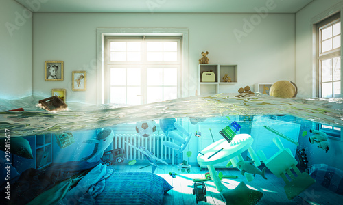 Fotografia flooded bedroom full of toys floating in the water.