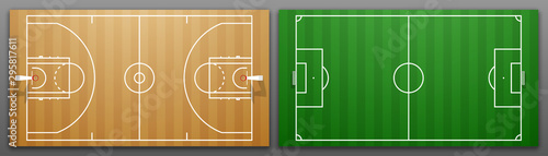 Wall mural Design banner illustration layout championship greeting card above Football and basketball field. card above Realistic soccer and basketball field. classic football playground postcard