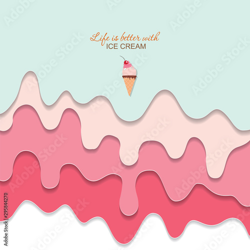 Canvas-taulu Melted flowing ice cream background