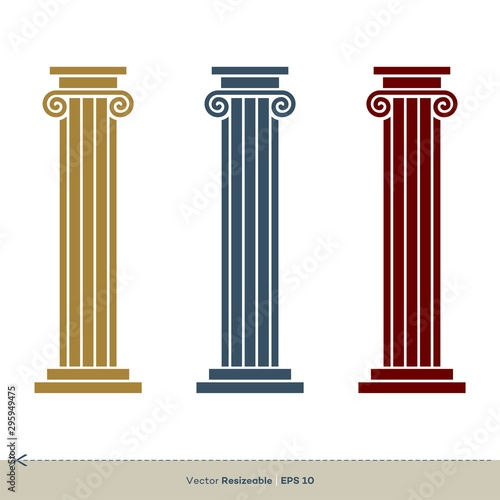Fototapeta Pillar Legal, Attorney, Law Office Vector Logo Template Illustration Design