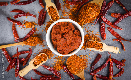 Canvas Print curry paste cayenne pepper on wooden spoon spices and dried chilli peppers backg