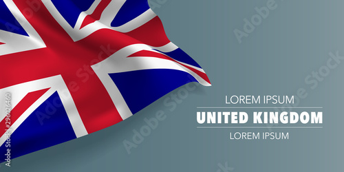 United Kingdom of Great Britain day greeting card, banner with template text vec Fototapete
