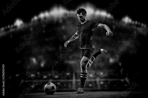 Obraz na płótnie soccer player on black background