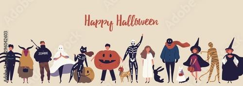 Fényképezés Happy halloween flat banner vector template