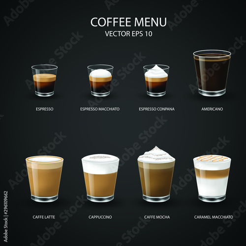 set of coffee cups, espresso glass, coffee latte, cappuccino, mocha, americano,caramel macchiato,vector design Fototapeta