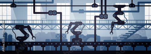Fotografiet Vector illustration of seamless factory line manufacturing industrial interior background