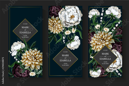 Bouquets with dahlia and peony in vintage style. Vector. Fototapeta