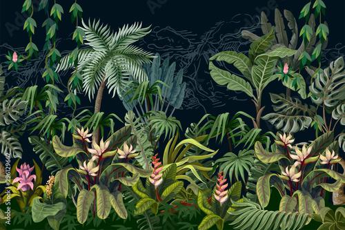 Obraz premium Piękna dżungla z drzewami i kwiatami