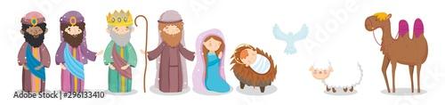 Fotografie, Obraz joseph mary baby wise men camel sheep pigeon crib nativity