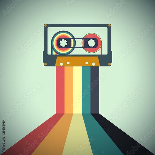 Wallpaper Mural Cassettes music retro style. Vector illustration