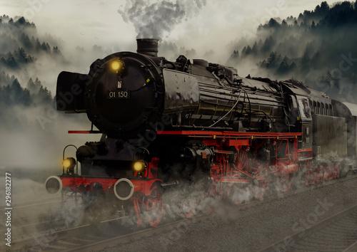 Canvas Print vintage black steam powered railway train