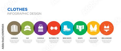 Fotografia, Obraz 8 colorful clothes vector icons set such as bra & knicker, brassiere, briefs, br