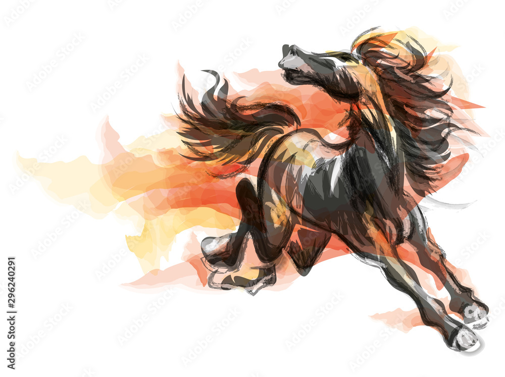 Orientalny styl malowanie biegnącego konia, tradycyjny chiński atrament i ilustracji wektorowych mycia. Koń w płomieniach. <span>plik: #296240291 | autor: charactoon</span>