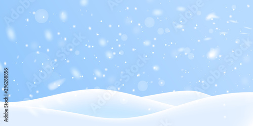 Winter snow background on blue backdrop. Magic white snowfall texture. Vector 3d illustration.