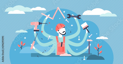 Handyman vector illustration. Flat tiny DIY work profession persons concept