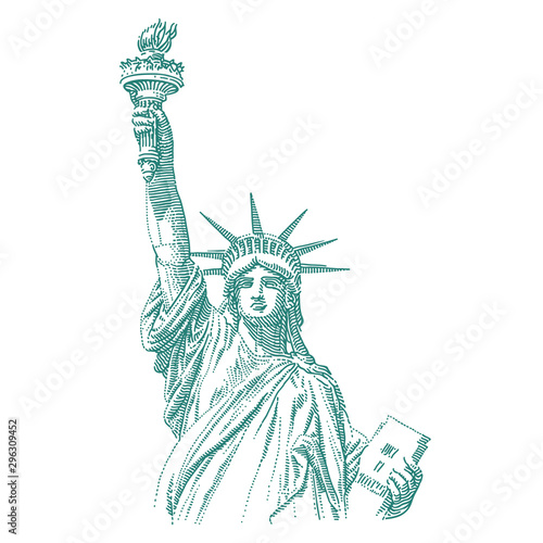 Wallpaper Mural Statue of Liberty engraving style illustration