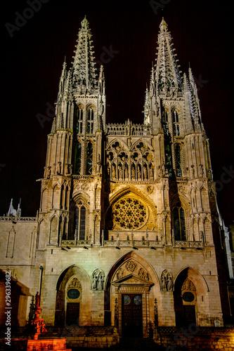 Retrato de la catedral de Burgos de noche
