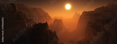 Canvas Print Canyon of Mars at sunset. Alien landscape. 3d rendering.