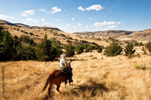 Foto Cow-Boy et cheval western dans les collines de l'ouest américain