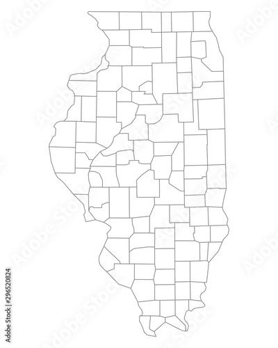 Fotografie, Obraz Karte von Illinois