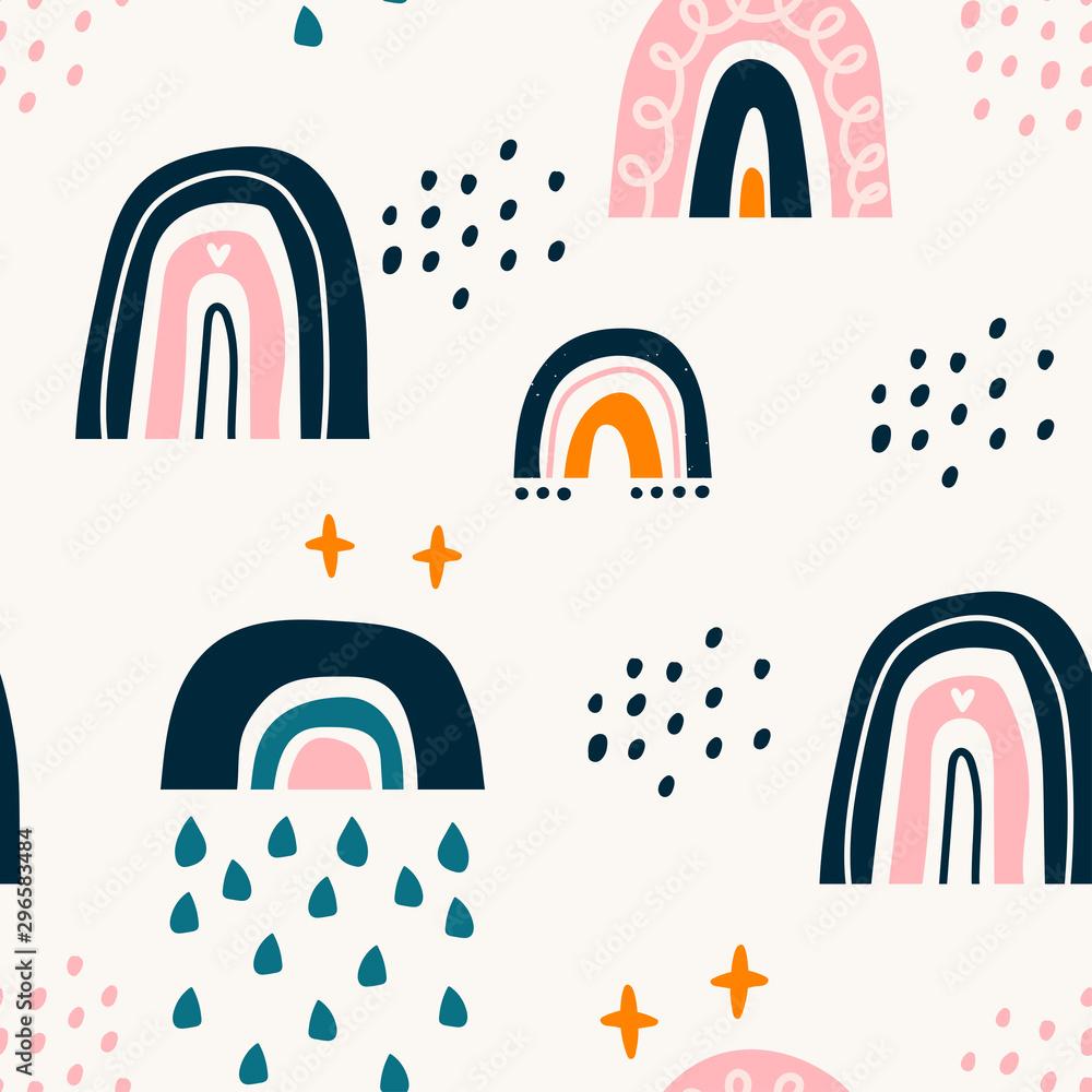 Various rainbows. Kids drawing style. Different ornaments. Childish scandinavian style. Flat design. Hand drawn colored vector seamless pattern. Modern trendy illustration. Pastel colors <span>plik: #296583484   autor: Dariia</span>