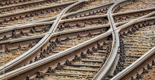 Fotografija Die Schienen kommen in einer Weiche zusammen