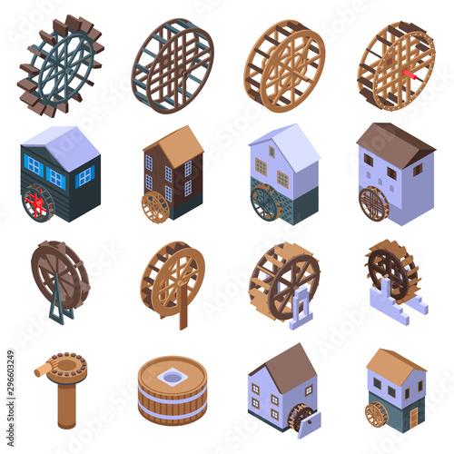 Obraz na płótnie Water mill icons set