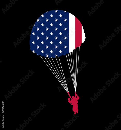 Canvas Print Paratrooper Parachute with American Flag Silhouette United States USA Freedom Is