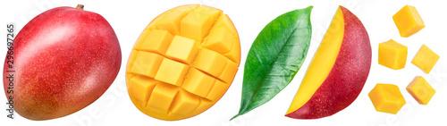 Photo Set of mango fruits and mango slices