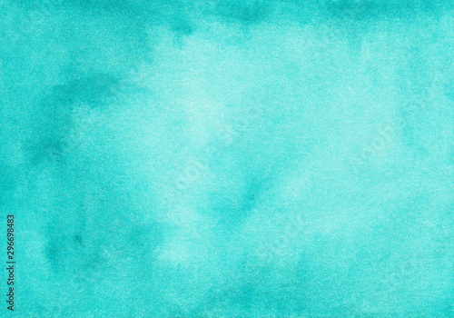 Watercolor turquoise gradient background texture. Aquarelle abstract blue ombre backdrop