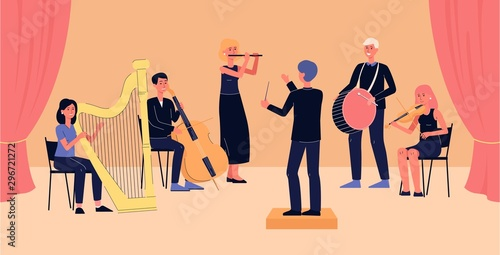 Symphony orchestra banner - cartoon people with musical instruments