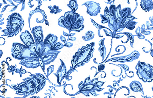 Hand drawn watercolor blue paisley seamless pattern for design. Water color f...