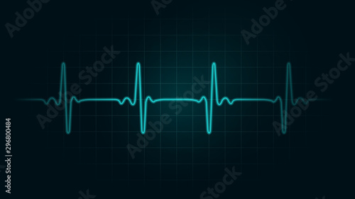 Fotografia Pulse rate Line on green chart background of monitor