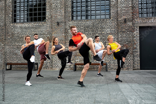 Fotomural Body training concept based on combining fitness and martial arts, street combat