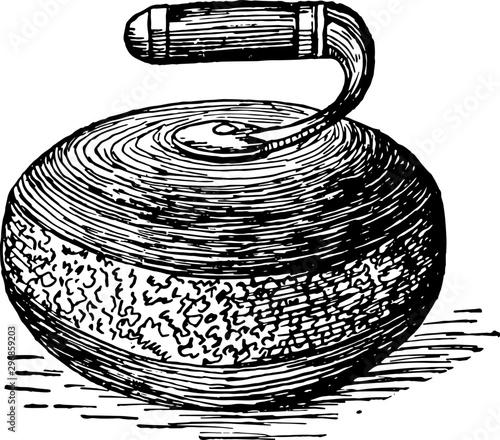Fotografia Curling vintage illustration.