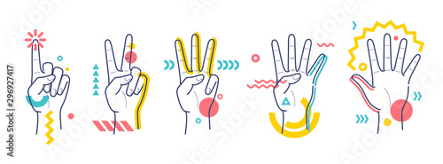Fotografia Hands showing numbers one, two, three, four, five