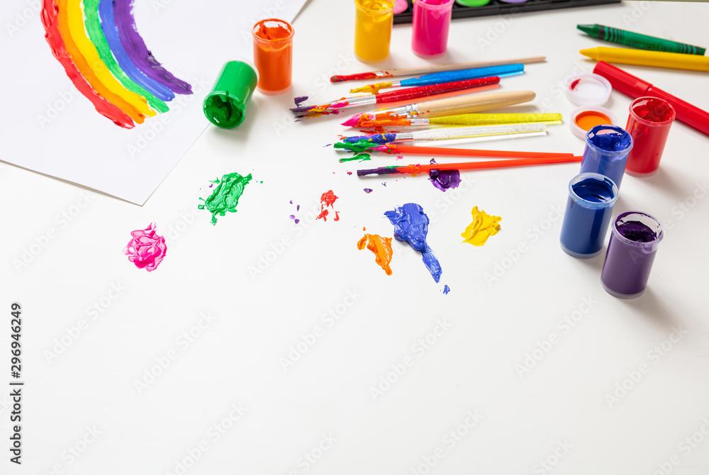 Colorful finger paints set on white color background <span>plik: #296946249   autor: Rawf8</span>