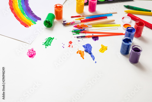 Leinwand Poster Colorful finger paints set on white color background